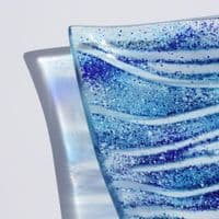 Fused Glass Platter | Wave Design | Handmade Glass Bowl